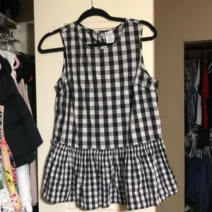 Tops - Gingham black and white peplum top
